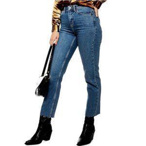 Topshop Raw Hem Straight Leg High Waisted Jeans 30